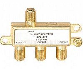 200-213 3-Way F Splitter Gold