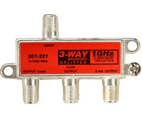 201-221 3-Way Balanced 1GHz 130dB F-Splitter