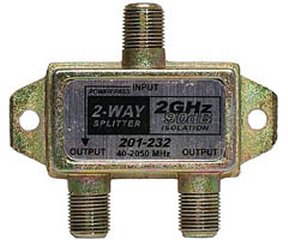 201-232 2GHz 90db 2-Way Splitter 1-DC Pass