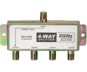 201-234 2GHz 90db 4-Way Splitter 1-DC Pass