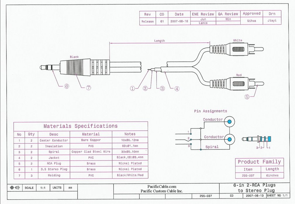 255 037_Drawing 255 037 6 inch 2 rca male (plug) to 3 5mm stereo male (plug) 3.5 mm stereo wiring diagram at bayanpartner.co