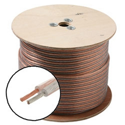 255-414CL 500 Ft. 14-Gauge Speaker Wire Clear