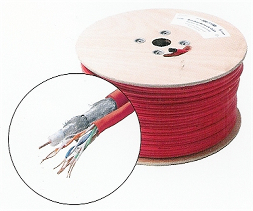300-772RD 1 Cat5E Twisted Pair and 1 RG6Q, Red, 500 Ft.