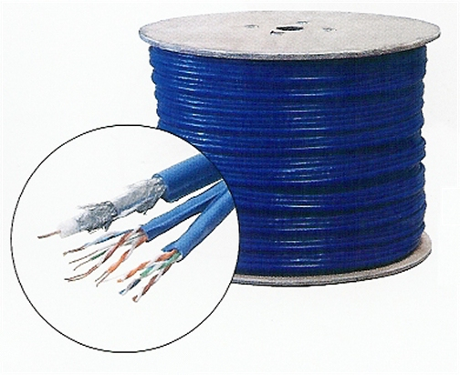 300-773BL 2 Cat5E Twisted Pair and 1 RG6Q, Blue, 500 Ft.