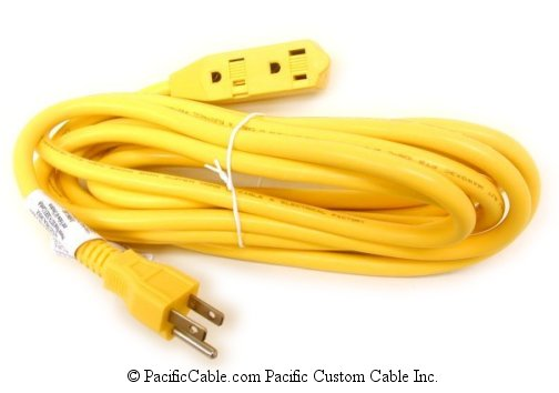 505-050YL 50 Ft. Yellow Extension Cord UL 14AWG SJTW 3Tap. Type B Females To Type B Male.