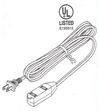 505-115WH_Drawing 15 Ft. White Extension Cord UL 16AWG SPT2 3Tap. Type A Females To Type A Male.
