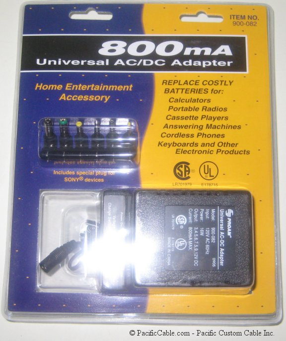 900-082 800mA cUL AC Adapter w/ Detachable Plugs