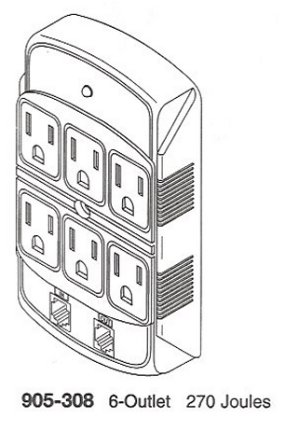 905-308 6-Outlet Phone Line Surge Protector