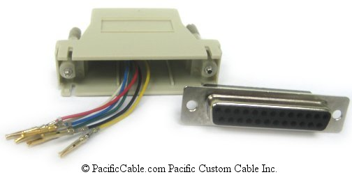 A25F12 D25 Female To RJ12 (6 Wire)