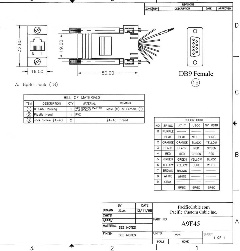 A9F45_Drawing a9f45 d9 female to rj45 (8 wire) db9 female to db9 male wiring diagram at mifinder.co