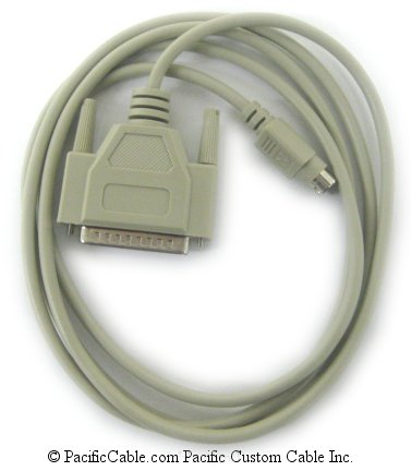 AM4-6 6 Ft. Mac Plus to Imagewriter 1, Mini Din 8 Male to DB25 Male, Molded