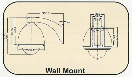 BE-Bracket_Drawing PTZ Wall Mount Indoor / Outdoor Bracket. Special Order. Non-Returnable.