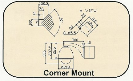 BE-Corner_Drawing Corner Mount Bracket Adapter. Special Order. Non-Returnable.