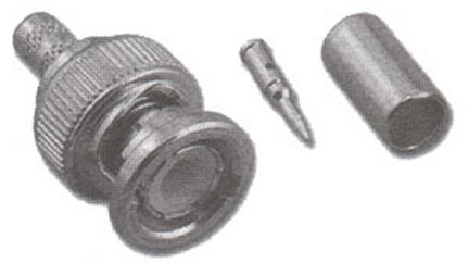 BNC-3028 3-Piece BNC Male Crimp Connector For RG-174 / RG-316