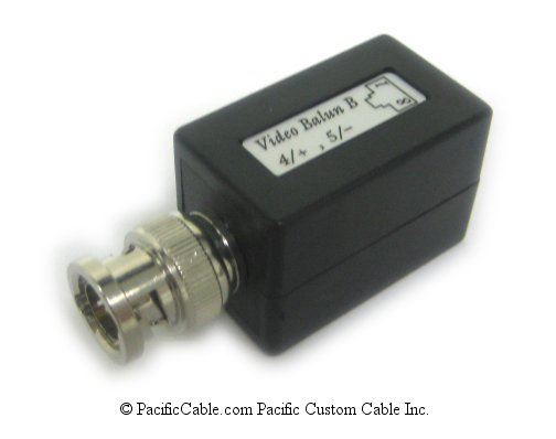 DC-1A45-4575-A BNC Male (Plug) To RJ45 Female. Pins 4,5. 75 Ohm CCTV Balun.