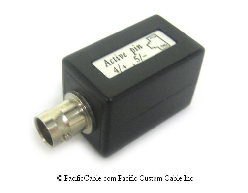 DC-1B45-4575-C BNC Female (Jack) to RJ45. Pins 4,5. CCITT 75 Ohm Balun.
