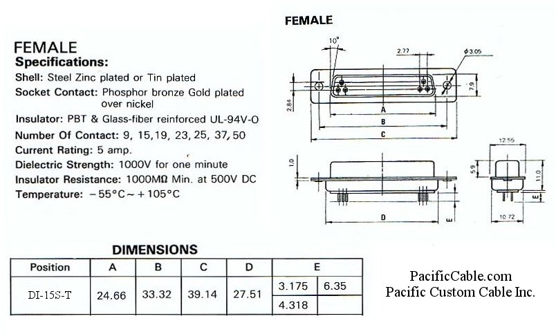 DI-15S-T_Drawing PCB Straight DB15 Female Tin Plated Connector 50 Pack
