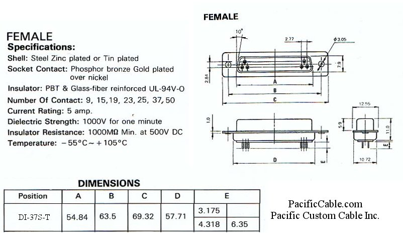 DI-37S-T_Drawing PCB Straight DB37 Female Tin Plated Connector 50 Pack