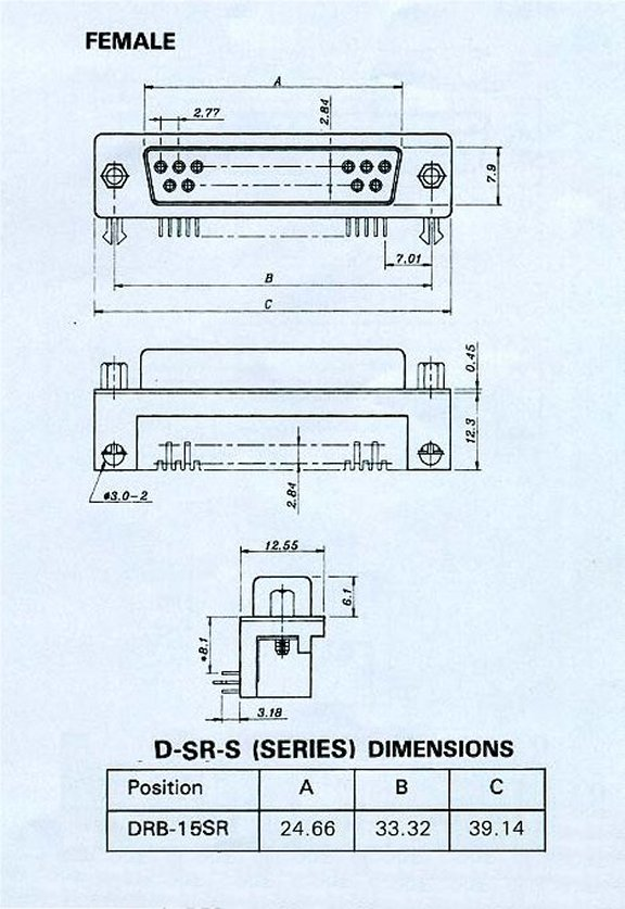 DRB-15SR_Drawing PCB DB15 Female Right Angle .318 Connector 50 Pack
