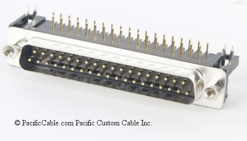 DRB-37PM PCB DB37 Male Right Angle .380 Connector 50 Pack