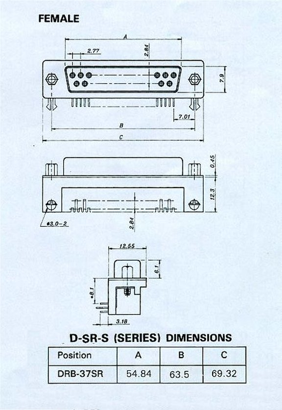 DRB-37SR_Drawing PCB DB37 Female Right Angle .318 Connector 50 Pack