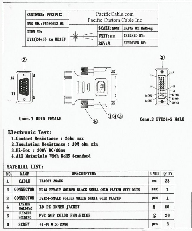 DVIHD15_Drawing dvihd15 dvi a male hd15 female vga adapter analog wiring diagram dvi to vga adapter at honlapkeszites.co