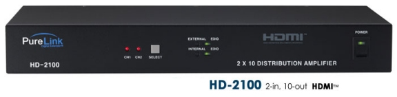 HD-2100 2 HDMI Inputs to 10 HDMI Outputs. HDCP Compliant.
