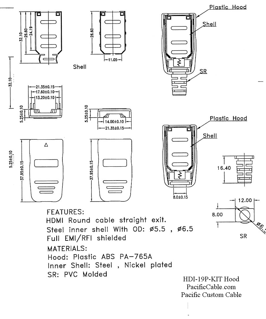HDI-19P-KIT-Drawing_1 HDMI Male Solder Connector / Hood Kit