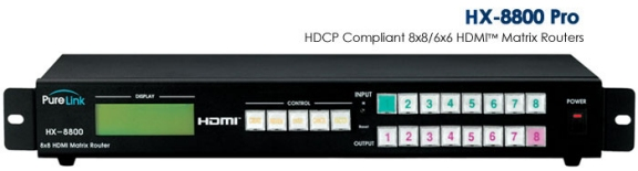 HX-8800-Pro 8 HDMI Inputs to 8 HDMI Outputs Matrix Router. With Flexible EDID Management. HDCP Compliant.