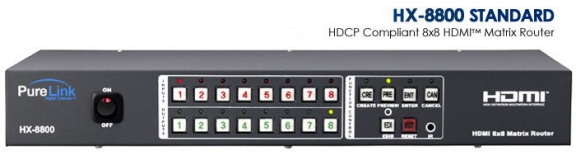 HX-8800 8 HDMI Inputs to 8 HDMI Outputs Matrix Router. HDCP Compliant.