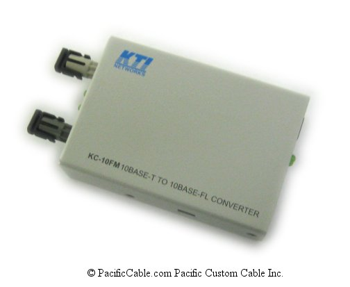 KC-10FMT 10Base-FL/10Base-T Multimode, ST Media Converter. KTI.