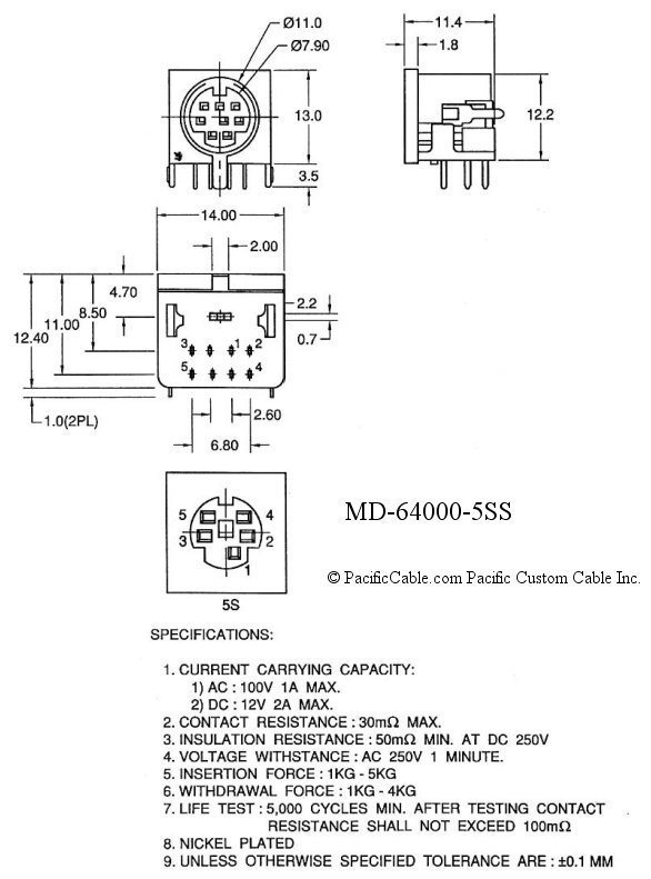 MD-64000-5SS_Drawing PCB Double Shielded Mini Din 5 Female Right Angle Connector 50 Pack