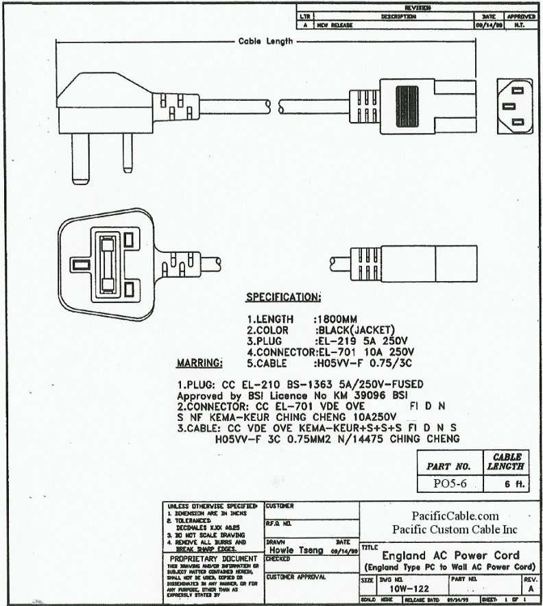 PO5-6_Drawing 6 Ft. United Kingdom Power Cable. C13 Connector To Type G Male.