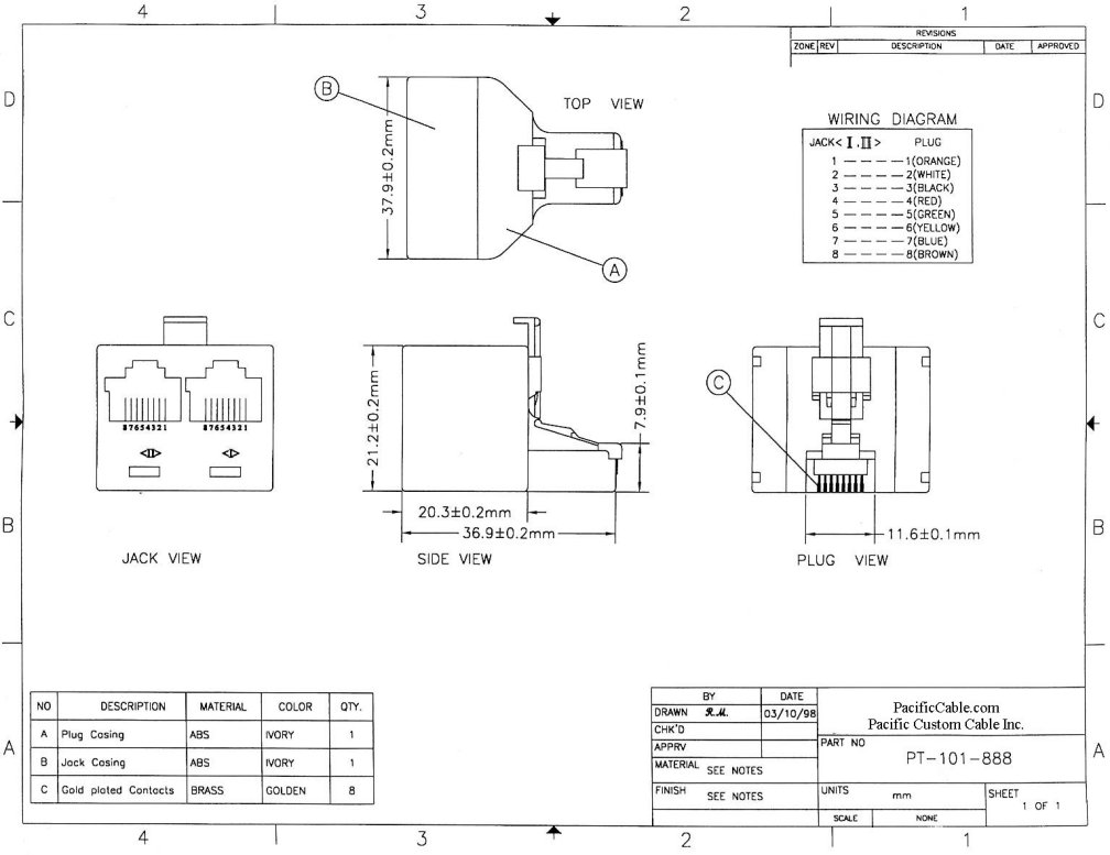 PT-101-888_Drawing RJ45 Male to 2 RJ45 Females