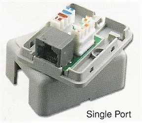 PT-1163-8-GR Category 6 Gray RJ45 Single Port Surface Mount Block