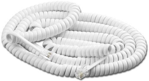 PT-604-12-WH RJ9 to RJ9 white coiled handset cord. 12 Ft.