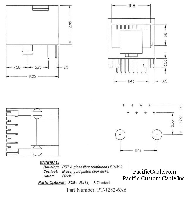 PT-J282-6X6_Drawing PCB Side Entry Space Saver RJ12 Jack 50 Pack