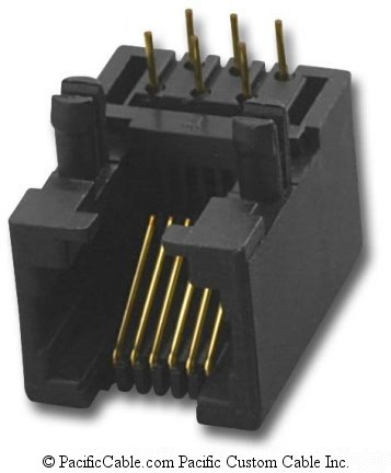 PT-J951-66 PCB Side Entry Low Profile RJ12 Jack 50 Pack