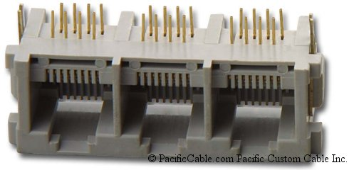 PT-JGN3-8X8 PCB Side Entry RJ45 3 Port Gang Jacks 50 Pack