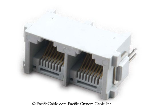 PT-JGT2-8X8 PCB Top Entry 2 Port RJ45 Gang Jacks 50 Pack