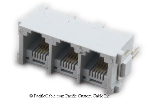PT-JGT3-6X4 PCB Top Entry 3 Port RJ11 Gang Jacks 50 Pack