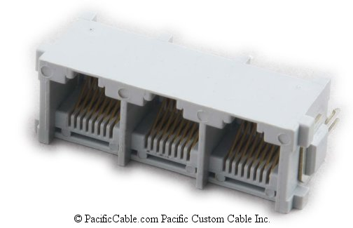 PT-JGT3-8X8 PCB Top Entry 3 Port RJ45 Gang Jacks 50 Pack
