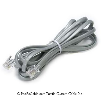 R12SSRC RJ12 6 Wire Silver Satin Data Cable Reversed (Custom)