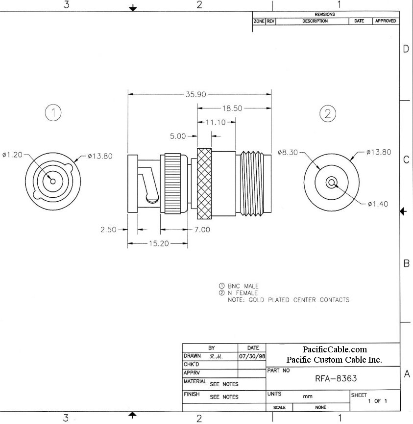RFA-8363_Drawing BNC Male (Plug) to N Female (Jack) Adapter