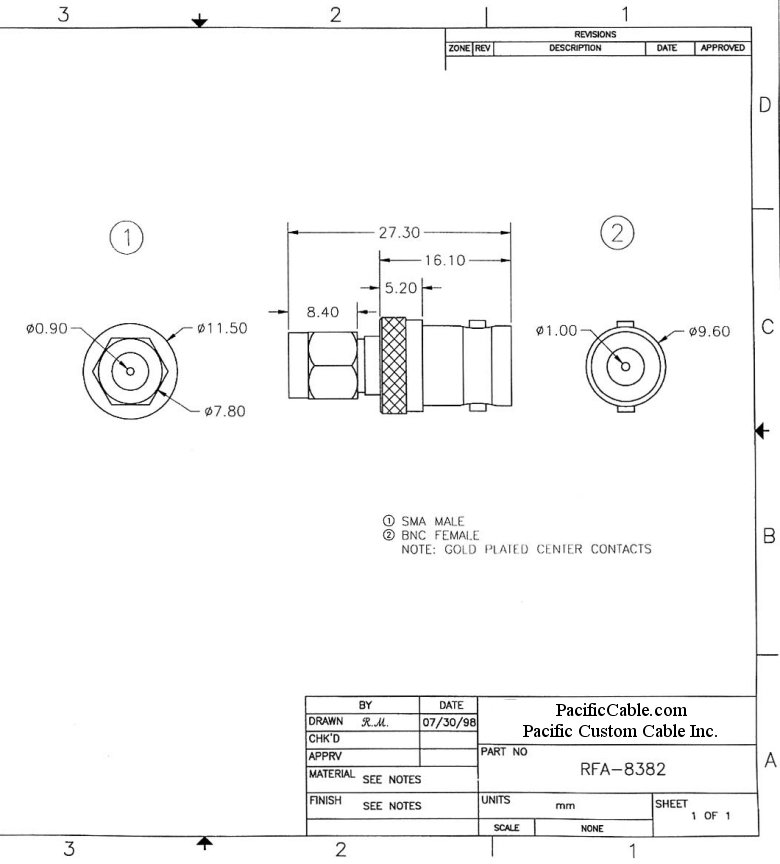 RFA-8382_Drawing BNC Female (Jack) to SMA Male (Plug) Adapter
