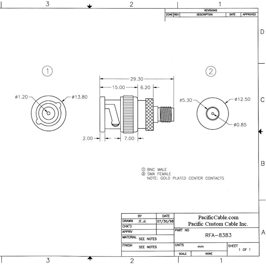 RFA-8383_Drawing BNC Male (Plug) to SMA Female (Jack) Adapter