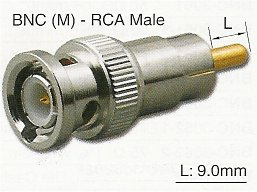 RFA-8394L BNC Male (Plug) to RCA Male (Plug) 9.0mm Pin Adapter