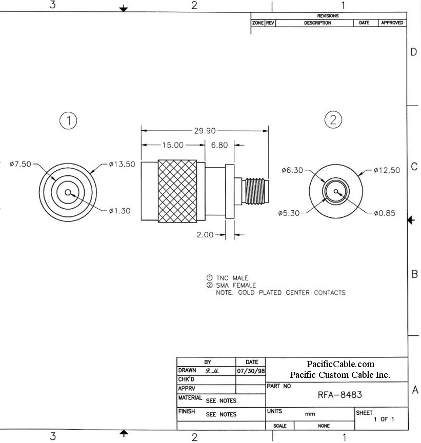 RFA-8483_Drawing TNC Male (Plug) to SMA Female (Jack) Adapter