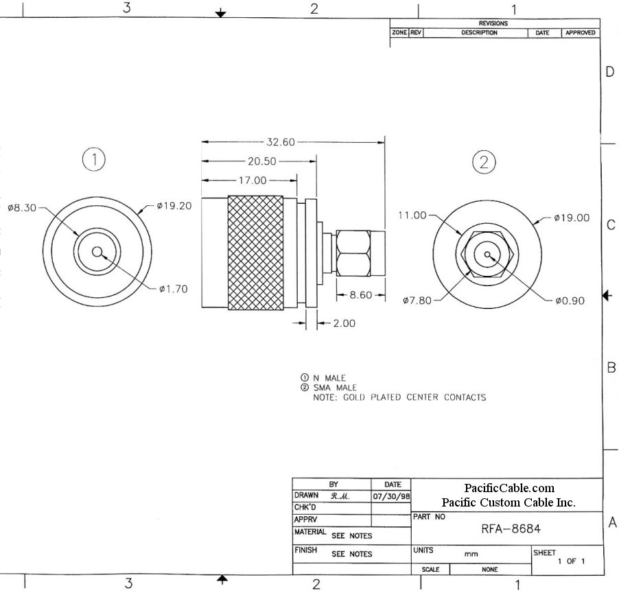 RFA-8684_Drawing N Male (Plug) to SMA Male (Plug) Adapter
