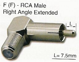 RFA-8792ER F Female (Jack) to RCA Male (Plug) Right Angle Extended Adapter